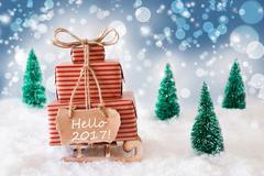 Christmas Sleigh On Blue Background, Hello 2017 Stock Photos