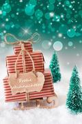Vertical Sleigh On Green Background, Frohe Weihnachten Means Merry Christmas Kuvituskuvat