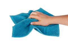 Hands Holding Fabric Cleaning Towel Stock Photos