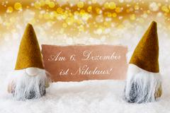 Golden Gnomes With Card, Nikolaus Means Nicholas Day - stock photo