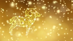 Illuminated sheep with falling lights, festive golden background. Eid ul adha. Stock Footage