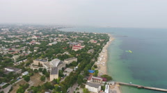Embankment of Yevpatoria with high Aerial view Stock Footage