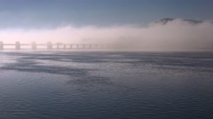 A beautiful foggy morning over the locks on the Mississippi River along the Iowa Stock Footage