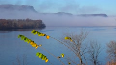 Golden autumn foliage along the bluffs of the Mississippi River on the Iowa Stock Footage