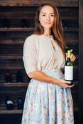 A young successful woman winemaker, businessman Stock Photos