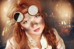 Redhead dirty girl steampunk Stock Photos