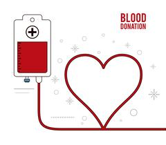 Blood bag heart donation icon. Vector graphic Stock Illustration