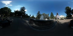 360Vr Video Dad and Kid at Amusement Park Man Walking and Taking Video Cats Day Stock Footage