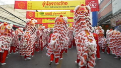 Group Parade of red lion show in Chinese new year Stock Footage