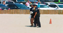 Police during emergency response in Venice Beach, Los Angeles, California 4K RAW Stock Footage