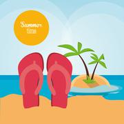 Sandals summer holiday vacation icon. Vector graphic Stock Illustration