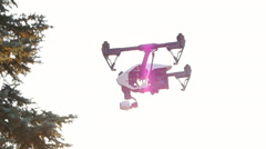 Drone lands at sunset Stock Footage
