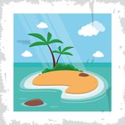 palm tree summer holiday vacation icon. Vector graphic - stock illustration