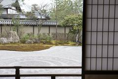 Karesansui, the dry landscape Japanese traditional gardens constructed only with Stock Photos