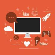 Computer gadget social media icon set. Vector graphic Stock Illustration