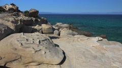 Picturesque stone formations at the Karidi beach. Vourvourou, Chalcidice, Greece Stock Footage