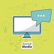computer gadget social media icon set. Vector graphic - stock illustration