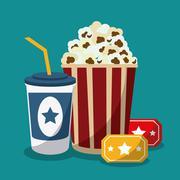 pop corn soda movie film cinema icon. Vector graphic - stock illustration