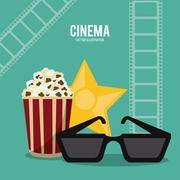 Pop corn glasses movie film cinema icon. Vector graphic Stock Illustration