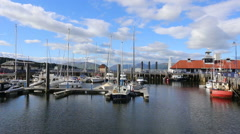 Boats in Rothesay Marina, Isle of Bute, Scotland 4th August 2016 Stock Footage