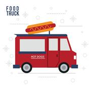 Hot dog truck fast food icon. Vector graphic Stock Illustration