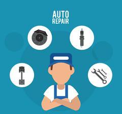 Mechanic cartoon auto rapair icon. Vector graphic Stock Illustration