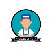mechanic cartoon auto rapair icon. Vector graphic - stock illustration
