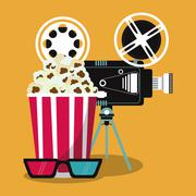 Video camera pop corn movie icon. Vector graphic Stock Illustration