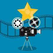 Video camera movie film reel cinema icon. Vector graphic Stock Illustration