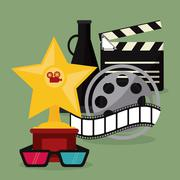 star glasses clapboard movie icon. Vector graphic - stock illustration