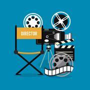 video camera clapboard movie film cinema icon. Vector graphic - stock illustration