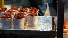 Korean food fried chicken. Famous spicy crispy street food Stock Footage