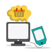 Computer digital marketing ecommerce icon. Vector graphic Stock Illustration