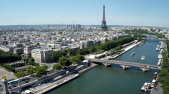 Aerial view of Paris , France with Seine river Stock Footage