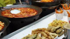 Seoul, Korea variety of Korean street food stall Stock Footage