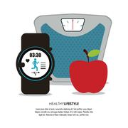 scale apple and watch  icon. Healthy lifestyle design. Vector gr - stock illustration