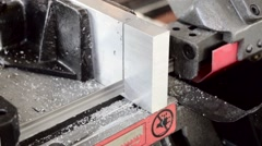 Belt saw cutting metal Stock Footage
