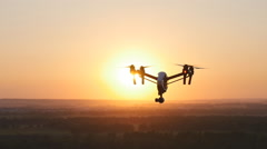 Quadrocopter drone with remote control Stock Footage