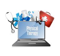 Physical therapy medical technology isolated sign Stock Illustration