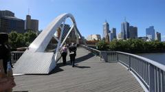 Australia Melbourne foot bridge Yarra River Stock Footage