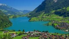 Lake Lungerensee in the Sarneraatal valley, Switzerland - stock footage