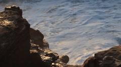 La Jolla - Closeup of Waves Crashing onto the Cliffs at Sunset  Stock Footage