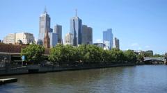 Australia Melbourne view pans Yarra River Stock Footage