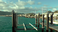 Equipment in the water in Sint Maarten port Stock Footage