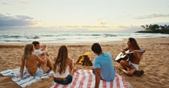 Friends Relaxing at Bonfire Beach Party Arkistovideo