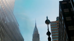 Chrysler Building New York, Low angle shot of camera rotating in front of Stock Footage