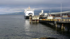 Calmac ferry MV Bute arriving Wemyss Bay, Scotland Stock Footage