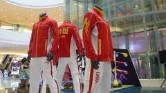 Rio Olympic Games China sports apparel show Stock Footage