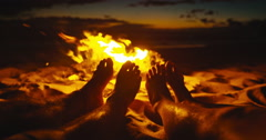 Friends Warming Feet by the Fire Stock Footage