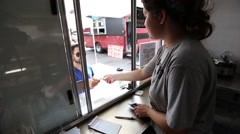 Sale from Inside Food Truck Stock Footage